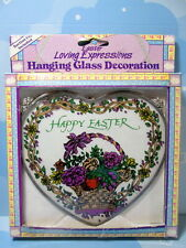 "Suncatcher Happy Easter Heart Shape Glass Basket Of Purple Flowers 6"" New In Box"