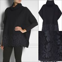 $1386 Valentino Ladies Navy Lace Oversized Ribbed Knit Wool Cape Jumper Size M