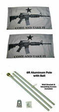 3x5 White Come & Take It Guns 2ply Flag Aluminum Pole Kit Ball Top 3'x5'