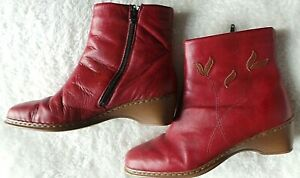 PAIR OF LADIES REIKER RED LEATHER ANKLE BOOTS  WEDGE HEEL SIZE UK 8 /42