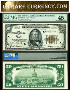 1929 $50 Federal Reserve Bank Note PMG Graded Dallas Texas