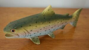 Wood Carved Rainbow Trout Figurine Rustic Fishing Lodge Log Cabin Home Decor NEW