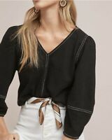 Anthropologie Current Air Delilah Top size Small Button Back 3/4 Sleeve in Black