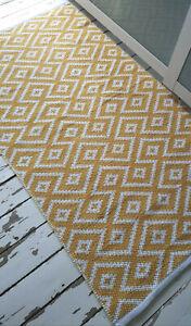 Ochre Mustard Ivory soft 90x150cm Washable rug. Modern Cotton Diamonds rug