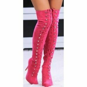 Women Over The Knee Boots Stiletto High Heel Boots Round Toe Fuchsia Party Shoes