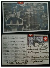 "1939 Switzerland Postcard "" Basel Munster ST George"" ties 2 stamps to UK"