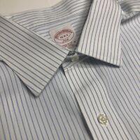 Brooks Brothers Dress Shirt, White Striped, non-iron, size 16-34/35