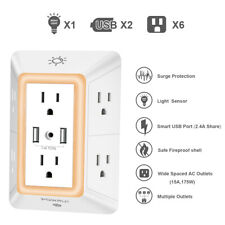 Surge Protector USB Outlet Plug Wall Socket Electrical Charger LED Night Light..