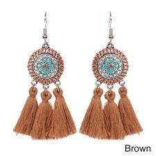 Elegant Women Long Tassel Big Flower Drip Oil Dangle Drop Hook Earrings Jewelry Brown