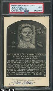 Zack Wheat Signed Artvue HOF Plaque Type 2 Postcard PSA 7 PSA/DNA Authentic AUTO