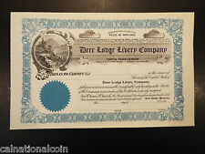 Vintage Unused Deer Lodge Livery Company stock certificate no. 47