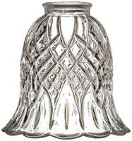 """Carved Clear Glass Shade 2 1/4"""" Fitter for Ceiling Fan Light Kit Set of 4"""