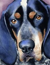 Bluetick Coonhound Watercolor Dog 8 x 10 Art Print Signed by Artist Djr