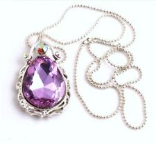 New, ab crystal and faceted glass Sofia The First Purple Amulet necklace