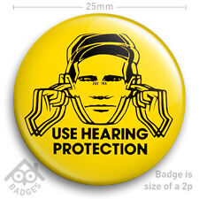 "Factory Records USE HEARING PROTECTION poster Hacienda Badge 25mm 1"" NEW"