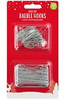 Easy Fix Christmas Bauble Metal Hooks - 200 Pack Two Assorted Sizes