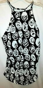 MSRP $68.00 NWT ~ ANNE COLE Black & White Tankini Swim Suit Top ~ Size Large