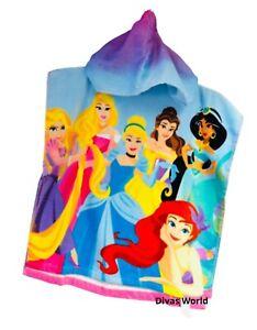 Disney Princess Printed Hooded Towel Swim Beach Towels Kids Poncho