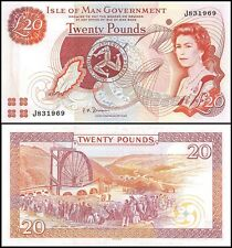 Isle of Man 20 Pounds, 2000, P-45b, UNC, Queen Elizabeth II (QEII)