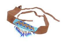 TRIBAL BROWN TONED ETHNIC NECKLACE  STATEMENT BEADS & SUEDE FRINGE (ZX52)