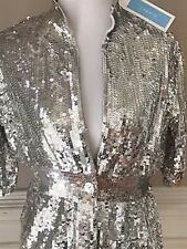 Urchin Womens Sequin Blazer Jacket short sleeve Silver Size S NWT