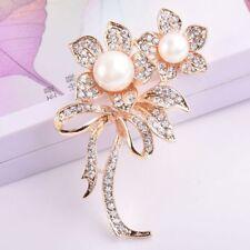 Crystal Big Pearl Scarf Clip Pins Brooch Pins Flower Bouquet Wedding Jewelry