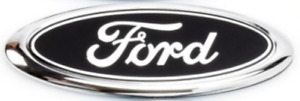 "6"" Ford Oval Badge Emblem Black/Chrome with Ring Rear Logo Transit 150mm X 60mm"