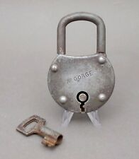 French, Antique Large Iron Padlock with Key. By Gorge.