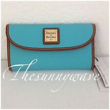 New Dooney Bourke Continental Clutch Wallet Pebble Grain Leather Blue Aqua NWT