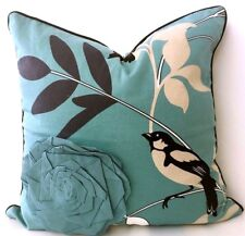 3x Quality Aqua Natural Look Leaf Bird Cushion Cover 45cm