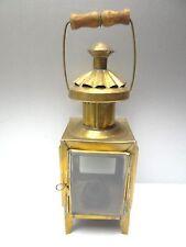 Vintage Used Old Complete Metal Brass Wood Handle Hand Lantern Lamp Antique?