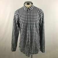 J Crew Mens Size Large Shirt 2-Ply Cotton Plaid Blue and White Long Sleeve