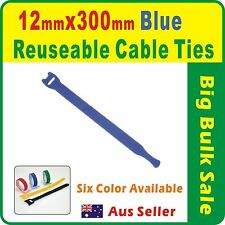 50 x Blue Reuseable Cable Ties 12 x 300mm Magic Wrap Strap
