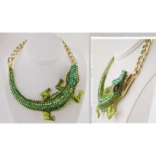 Adjustable Gold Tone Large Green Rhinestone Alligator Necklace
