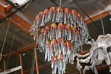ART DECO 4 LEVEL WROUGHT  IRON CHANDELIER & 54 FLOWING BLOWN GLASS SHADES #2