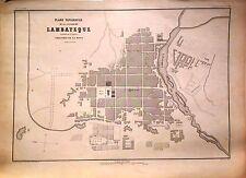 PERÚ,plano ciudad de Lambayeque.Paz Soldán.Geografía del Perú 1865.