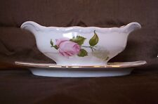 """WALBRZYCH Poland Porcelain """"BRIAR ROSE"""" GRAVY BOAT with ATTACHED UNDER PLATE"""