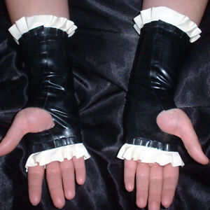 Free Shipping 100% Latex Rubber Black Sexy Gloves, Fingerless Mitten S-XXL 0.4mm