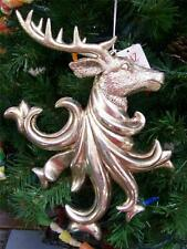 "NWT RAZ Imports Antique SILVER Large 11"" REINDEER Deer Head Christmas Ornament B"