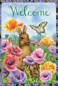 Bunny Poppies Spring Welcome Butterfly Flower House Flag  29.5 x 39.5 inch