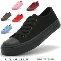 Kids Unisex Boys Girls Canvas Athletic Sneakers Shoes Low Top Vulcanized Solid