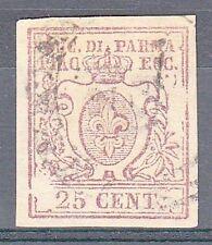 PARMA - 1857 - 25 cent (10) - Due grandi falle di stampa - Golinelli+Raybaudi- U