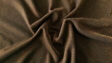 Black Ponte Roma Knitted Jersey fabric/Material with Gold 'Glitter Look' finish.