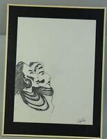 2 schauende afrikanische Stammesmitglieder - ältere Zeichung - signiert   /S181