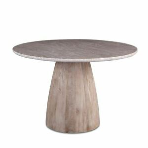 """Marble Top 48"""" Modern Dining Table with Whitewash Mango Wood Base"""