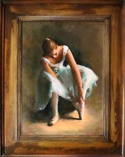 Ballerina - Ölgemälde handgemalt Vintage Rahmen Signiert 96x76cm, G15158