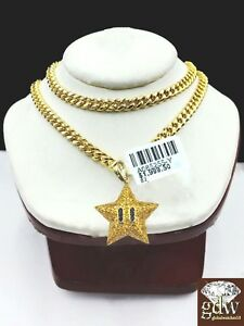 Real 10k Yellow Gold & Real Diamond Star Emoji Charm 24Inch Miami Cuban Chain