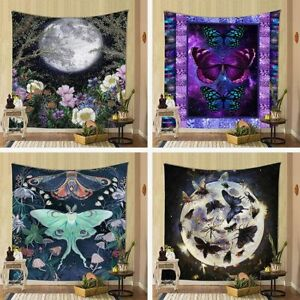 Trippy Floral Moon Phase Tapestry Butterfly Moth Witchy Moonlit Garden Flower