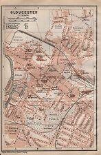 1910 BAEDEKER ANTIQUE MAP- UK-TOWN PLAN, GLOUCESTER