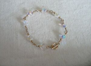 #2 Handcrafted bracelet -  Swarovski crystals AB w gold filed toggle clasp